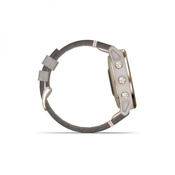 Garmin Fénix 6S Zafiro dorado correa cuero gris