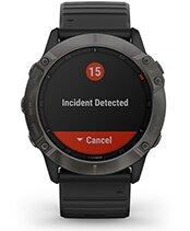 fēnix 6X Pro Solar con la pantalla de las funciones de seguimiento y seguridad
