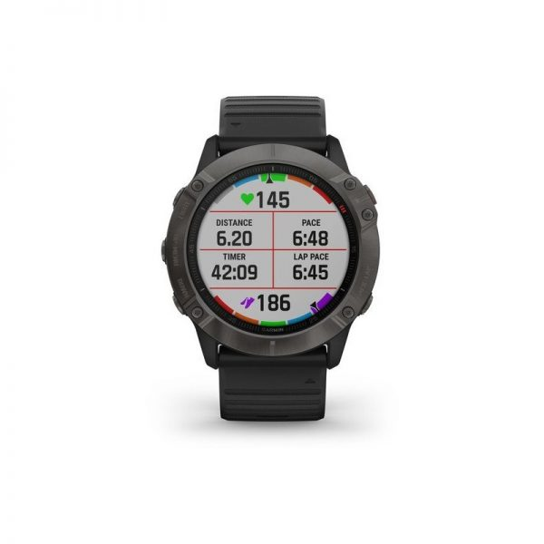 reloj Garmin Fenix 6X Zafiro DLC gris carbón correa negra